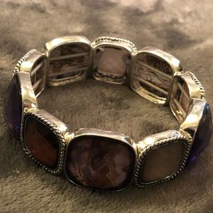 Silver and Faux crystal/stone stretch bracelet